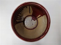 Asian inspired pottery bowl. About 8in diameter