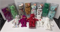 Collection of beanie baby bears. 14 total. All