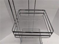 Four tiered metal basket corner shelf