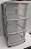 Three tiered plastic storage bins. About 25.25in