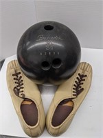 Two Brunswick bowling bags with Brunswick shoes