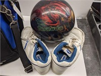 Ebonite bowling bag with bowling ball and shoes.