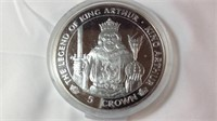 "5oz Silver proof legend of King Arthur ""Arthur """