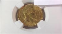 1861 a 20 Franc gold piece MS 61
