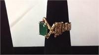 Custom 14 K ladies ring with large emerald