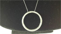 White gold chain with large diamond pendant