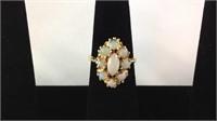 14 K custom ladies opal ring