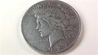 1927D US silver peace dollar