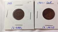 61901 to 1905 Indianhead cents