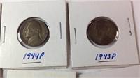 Six 1940s Jefferson nickels
