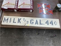 "44"" Milk half gallon 44 cents wood sign"