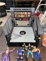 WWE fighting arena with figures