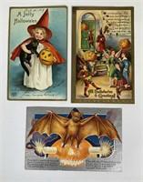 3 Antique Halloween Postcards