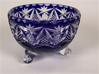 Cobalt Blue Cut to Clear glass jar & candy dish