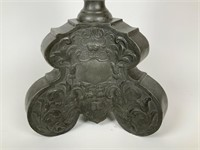 Early pewter pillar candle stand