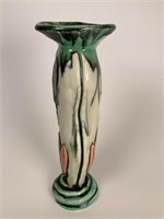 Contemporary signed floral pottery vase