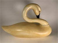 Large wood swan, signed & dated