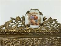 Bronze mirrored vanity tray w/porcelain medallions