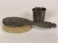 Tiffany & Co. Sterling handled brush & cup