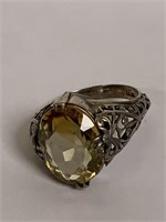 Sterling Ring W/faceted crystal & beaded necklace