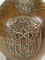 Artist signed reproduction Frenchmen stoneware jug