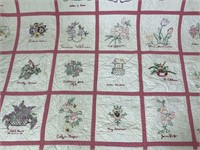 Signed Hand Stitched Embroidered Quilt