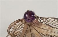 Vintage Ornate Sterling Brooch W/ Gem