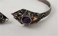 Vintage Ornate Sterling Silver Bracelet W/ Gems