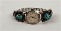 Vintage Caravelle Watch W/ Sterling Turquoise Band