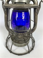 Antique Dietz Vesta blue glass Railroad lantern