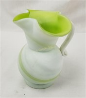 Vintage Milk Glass Style Green Swirl Pitcher Vase