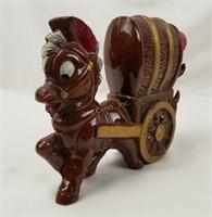 Vintage Ceramic Decanter Donkey W/ Wagon