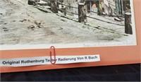 Radierung Von R. Bach Print Rothenburg Tauber