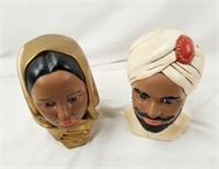Pair Of Ceramic Busts India Turban & Lady