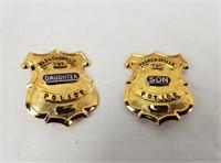 2 Mini Police Badges Daughter & Son Ohio Warensvil