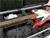 Red Fender Squire Jaguar Electric Guitar W/ Case