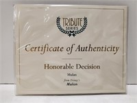 """WDCC Mulan """"Honorable Decision"""" w/ box and COA."""