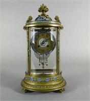 Late 19th C. gilt brass champleve clock