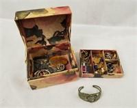 Small Jewelry Box W/ Costume Jewelry Earrings