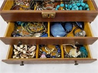 Jewelry Box Filled W/ Costume Jewelry Rings & More