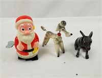 Vintage Small Toy Lot Santa Poodle Donkey & More