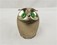 Vintage Aluminum Owl Bank Naiper Green Eyes
