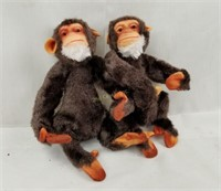 Vintage Mohair Plush Monkeys Baboons Pair