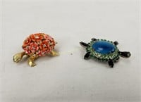 Turtle Brooches Lot Costume Jewelry Some Marked