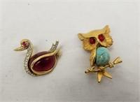 Brooch Lot Bird Swan Dragonfly & Owl