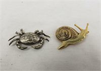 Brooch Lot Snail Crab Horse & Butterfly
