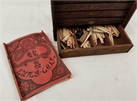 Vintage Mahjong Set Case & Tiles Made In China
