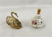 Pair Of Perfume Bottles Atomizers & Swan Case