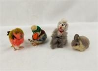 Small Steiff Plush Rabbit & Bird Duck + Poodle