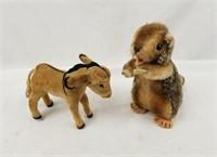 2 Vintage Plush Animals Donkey & Squirrel